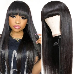 Full Machine Made Wigs With Bang 100% Virgin Human Hair Not Lace Wigs