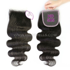 HD Swiss Lace Closure 5x5 Virgin Human Hair Slightly Plucked Hairline With Baby Hair