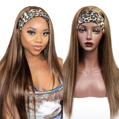 P4/27 Color Adjustable Headband Scarf Wigs Straight Hair 100% Virgin Human Hair Wigs Not Lace Wigs
