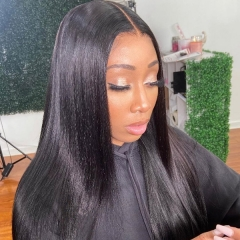 Straight Hair Pre Plucked Bleached Lace Wigs 130% Density Human Hair Closure Wigs